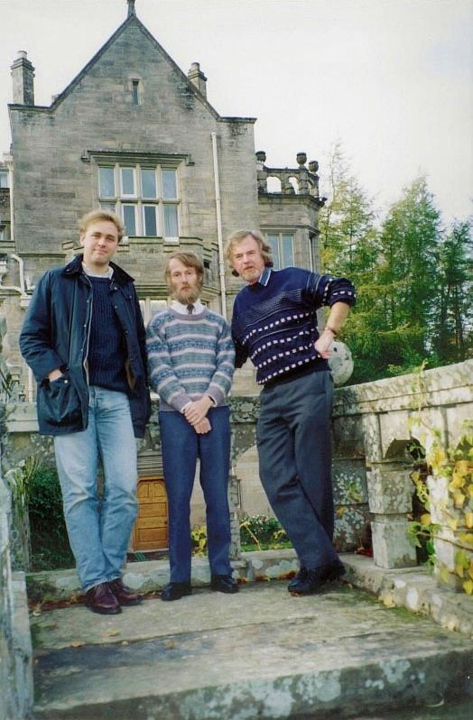 (L-R) Simon Nuttall-Smith, Ken Beer, Dave Ross outside the Kildrummy Castle Hotel, near Alford in Aberdeenshire, Scotland.